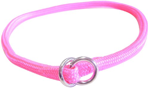 Hamilton 828 HP 5/16-Inch by 18-Inch Round Braided Choke Nylon Dog Collar, Hot Pink