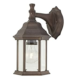 B And M Outdoor Wall Lights : Outdoor Wall Light with Six-Sided Glass Shade - Wall Porch Lights - Amazon.com
