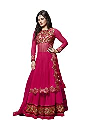 Sk Creation Rimi Sen Rani Pink Neck Embroidered Semi Stitched Sarara Style Suit