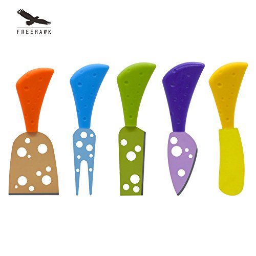 Freehawk® 5 Pieces Cheese Knife Set Multi-colored Cheese Knives/Cheese Slicer/Cheese Cutter/Cheese Fork/Cheese Spreaders for Parties, BBQ and Dinner