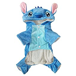Gimilife Disney Stitch Cartoon Pet Custume Coat for Small Medium Large Dogs (L)