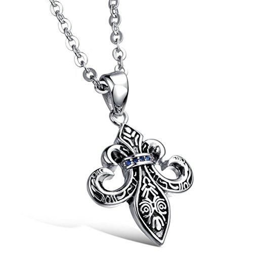 Gorgeous Jewelry Retro Cross Flower Shape Blue Zircon Studded Men's Titanium Steel Black Necklace (Thule Alpine Box compare prices)