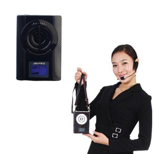 Aepel Fc-730 Rechargeable Portable Pa System Wireless Microphone Waist-Band Voice Booster Amplifier Megaphone Mini Loud Speaker [Black]