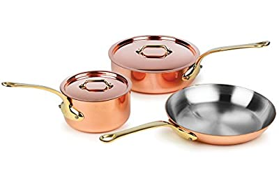 Mauviel M'heritage M250B 5-piece 2.5mm Copper Cookware Set with Bronze Handles