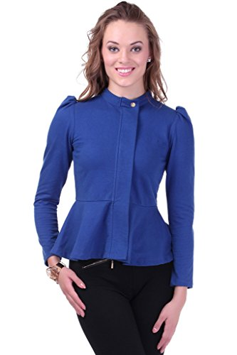 Turtle Neck Blue Peplum Terry Jacket