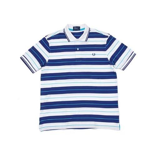 (フレッドペリー) FRED PERRY M5205 722 半袖ポロシャツ YARN DYED STRIPE SHIRT 722(ホワイト×ブルー) S [並行輸入品]