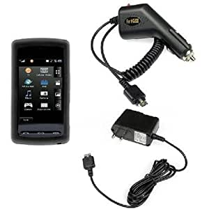 Durable Flexible Soft Black Silicone Skin Case + Rapid Car Charger + Home Travel Charger for AT&T LG Vu CU920 cell Phone