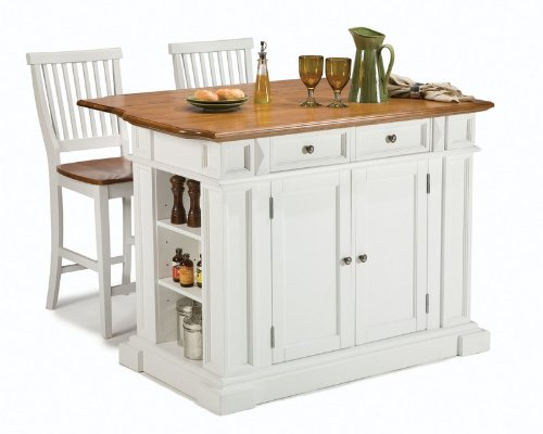 Cheap 3pc Kitchen Island and Stools Set in White and Oak Finish (VF_HY-5002-948)