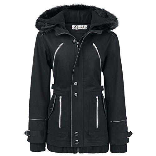 Poizen Industries-Giacca Chase Coat cappotto giacca invernale/Parka nera con cappuccio, maniche lunghe e collo di pelliccia removibile nero S