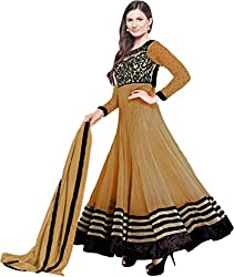 Awesome Fab Beige Georgette Semi-Stiched Embroidered Anarkali