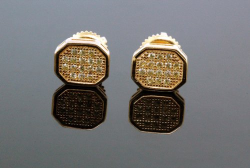 .925 Sterling Silver Yellow Octagon White Crystal Micro Pave Unisex Mens Stud Earrings