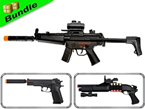 BBTac SWAT Response Team Bundle with CM023 MK5 Airsoft Electric Gun + M180 Pump Action Shotgun + M24 1911 Spring 1911 Pistol