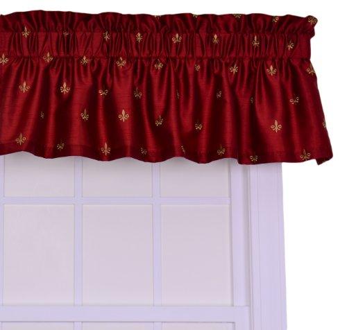 Ellis Curtain Fleur Di Lis Faux Silk Tailored Valance Window Curtain, Red