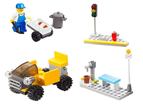 City Series 4-in-1 76pc Building Bricks Toy set Traffic Light – Communal Facilities – Sanitation Truck – City Cleaner Educational Blocks Compatible to Lego Parts – Great Gift for Children