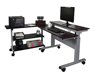 """60"""" Crank Adjustable Standing Desk + Side Desk Shelves"""
