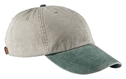 Adams Cotton Twill Two-Tone Stone Optimum Cap - Stone/ Forest Green