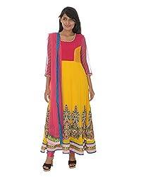Gurpreet Kaur Women Brocade & Georgette Dress (D005, Yellow & Pink, 36)