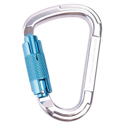 25kN-Verrouillage-Automatique-D-anneau-Mousqueton-Pour-Lalpinisme-Escalade-Bleu