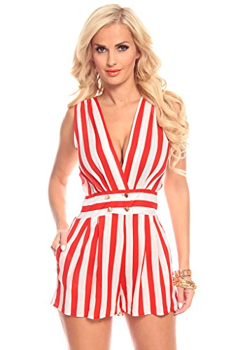 Lolli Couture Stripes Sleeveless Deep V Neck Romper M Red/Ivory-Ajs8290 back-212085