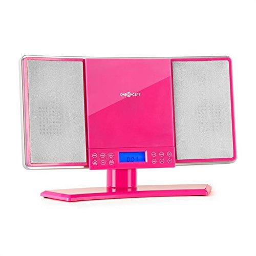 oneConcept V14 Design Stereoanlage Mini Vertikal Anlage Kompaktanlage (UKW-MW-Radio, MP3-CD-Player, AUX, Fernbedienung, Sleeptimer) pink