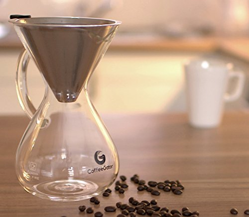 BEST-Pour-Over-Coffee-Maker-For-Perfect-Drip-Coffee-30oz-6-cup-Carafe-by-Coffee-Gator-with-Permanent-Stainless-Steel-Filter-Never-buy-another-paper-filter-again