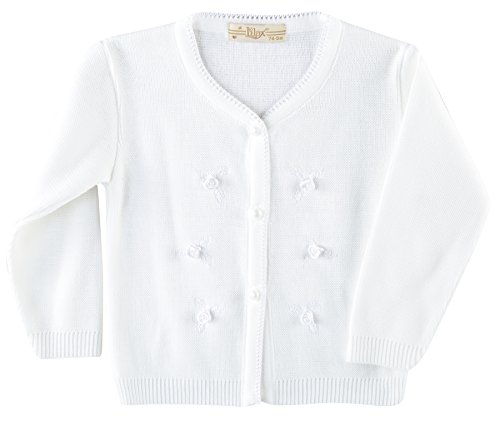 Lilax Baby Girls' Rose Applique Knit Cardigan Sweater 12M White