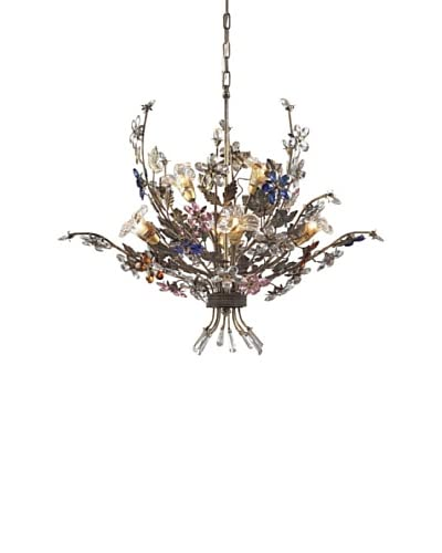 Artistic Lighting 6-Light Crystal Florets Chandelier, Multi/Bronzed Rust