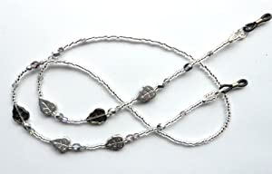 Ladies Spectacle Chain UK DESIGNER MADE with glass beads in Silver