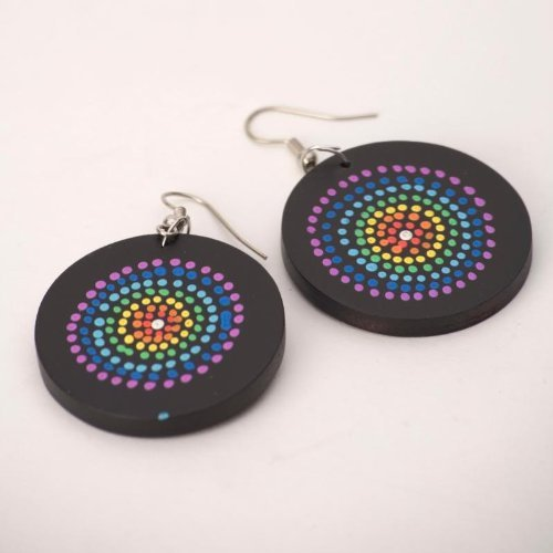 Rainbow 35 mm aboriginal spiral earrings wood wooden