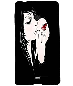 Fuson Butterfly Tatto Girl Back Case Cover for NOKIA MICROSOFT LUMIA N540 - D3848