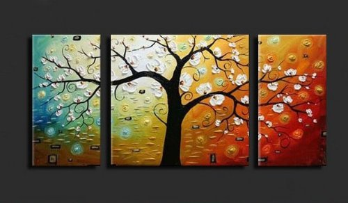 Cherish Art Hand Painted Oil Painting White Flowers Tree 3 Panels Wood Inside Framed Hanging Wall Decoration