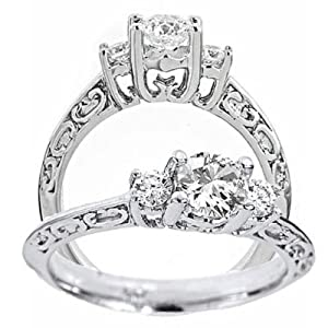 14k White Gold 3 Three Stone Diamond Engagement Ring Filigree Style (3/4 Carat, VS-1 Clarity, F Color) by ATR Jewelry