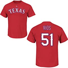 Alex Rios Texas Rangers Red Player T-Shirt by Majestic by Majestic