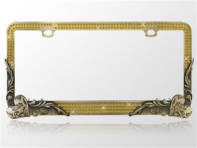 Car Automotive License Plate Frame Bronze Metal Chrome Coating with Gold Diamonds Crystals Rhinestones Bling Elegant Vintage Love Hearts Flower Vines Design