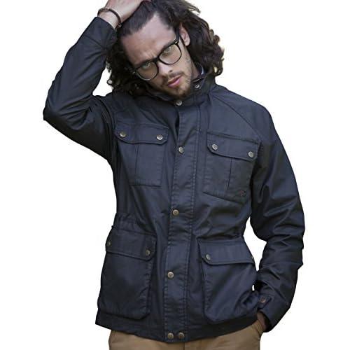 VEDONEIRE Mens Wax Jacket (3050 BLACK) waxed motorbike style