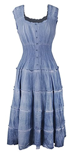Peach Couture Renaissance Denim Button Up Cap Sleeves Gypsy Tank Dress L