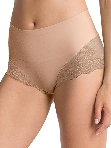 SPANX Undie-Tectable Lace Hi-Hipster Panty, Soft Nude, XLarge