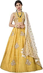 Fotoablearc Women's Banglory Silk Anarkali Suit Dress Material Lehenga Choli(Designer Lehenga Choli/partywear lehenga choli for women_YellowColour_leh New_FreeSize)