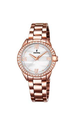 Damas-reloj analógico de cuarzo de acero inoxidable Festina recubierto F16920/1