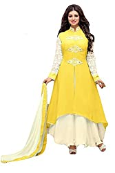 Sitaram womans Georgette Yellow colour Anarkali Long Lahenga gown style semistitched Dress material with dupatta.