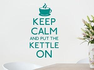 Keep calm put kettle on Wall Art Sticker - Aqua Green, Medium