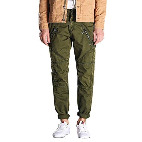 NiSeng Pantaloni da uomo con tasconi laterali Camouflage Militari Combat Cargo Pantaloni da lavoro Army Green 34