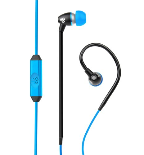Jlab Jbuds Fit Sport Earbuds , Sweatproof And Water Resistant With In-Wire Customizable Earhooks (Black/Blue)