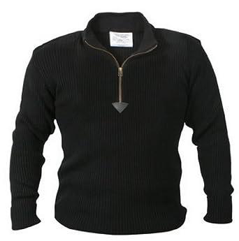 Black 1/4 zip acrylic commando sweater - 3x