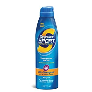Coppertone Sport Continuous Spray Breathable Sunscreen, SPF 50, Ultra Sweatproof, 6 Fluid Ounce (177 ml)
