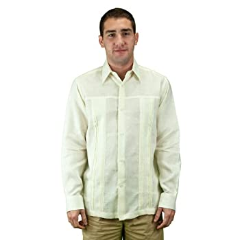 Mens shirt for wedding pure linen, ivory.