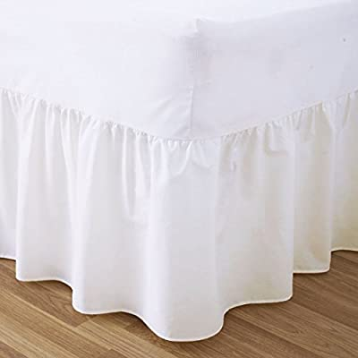 Sunshine Comforts® Plain Dyed 50:50 Poly Cotton Bed Base Valance Sheet White: King Size Bed