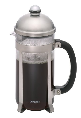 BonJour French Press Maximus 12-Cup with Flavor Lock Brewing, Brushed Stainless Steel