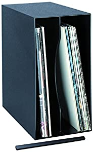 BECO Kunststoff-Box für bis zu 50 LPs stapelbar, Wandmontage möglich, Farbe: Schwarz, Maße: 18.0 x 32.5 x 34.7 cm, mit Verbindungsschiene