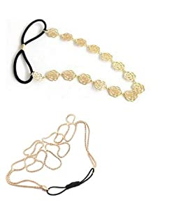 niceeshop(TM) 2Pcs Pack- Gold Stylish Hollow Out Braided Stretch Hair Head Band Accessories Headband Hairband + Hot Lovely Metallic Sweet Hollow Rose Flower Elastic Hair Band Headband for Women